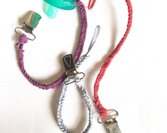 Braided Suede Pacifier Clip // Assorted Colors