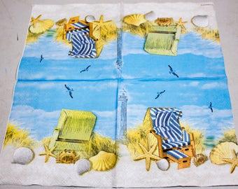 Decoupage napkin Paper napkins sea beach summer ocean Decoupage napkins paper napkin for decoupage