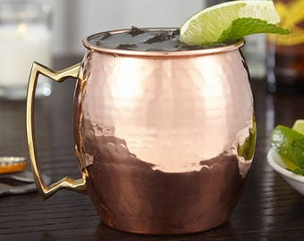 Moscow Mule Mug Authentic 100% Solid Copper Hammered - Handmade