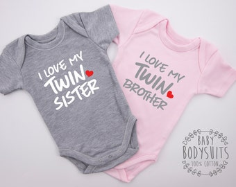 Twin Boy and Girl Baby Gifts, I Love My Twin Sister & I Love My Twin Brother Set, Twin Boy Girl Matching Clothes, Twin Boy and Girl Outfits