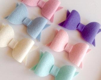 """100% wool felt chunky hair bows - medium 3"""" - felt hair bows, felt hair clips, spring bows"""