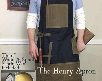 Denim Apron, Man's Apron, Barber's Apron, Shop Apron for men, Shop Apron, Work Apron, Waxed Denim, Waxed Canvas, Mens apron, Carpenter