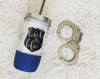 Back the Blue - Glitter Dipped Mason Jar Tumbler - 24oz