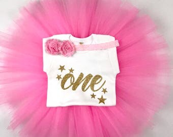 Twinkle twinkle little star first birthday outfit - First Birthday Girl Outfit - 1st Birthday Outfit  - Pink and Gold - Personalized