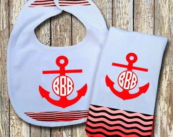 Anchor Monogrammed Baby Bib with matching Burp Cloth Set (Red)