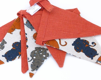 Fabric Flag Banner / Pennant / Bunting / Cat Print / Rust Colour