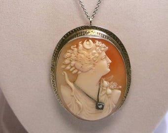 antique victorian cameo white gold 14k