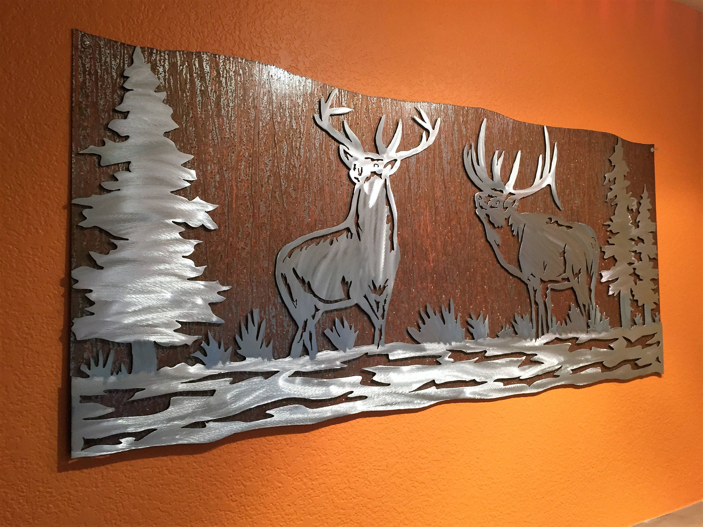 Elk Artwork Metal Wall Art Nature Scene Wildlife