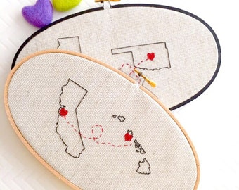 Connection | State Cross Stitch | Home Decor | Custom Cross Stitch | Heart Cross Stitch | by Cloth & Twig Shop