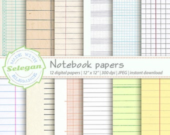 digital printable notebook paper back to school digital paper scrapbook paper textured paper