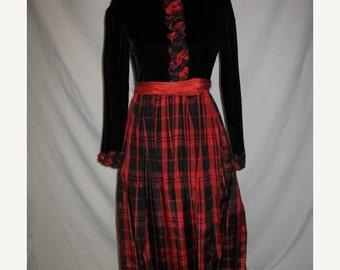 On Sale 1970s Black Velvet Holiday Evening Dress Red Black Ruffles Tartan Taffeta Womens