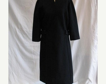 On Sale Vintage 1960's Black Day Dress in Textured Polyester Knit Stoner Square