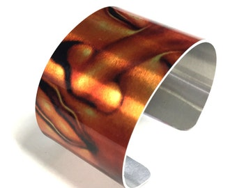 Cuff Bracelet BOUDDHA in metallic background, Zen, copper color, Aluminum, Jewelry, Customizable, Sublimation, gift for friends