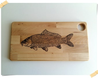 Pyrography fish etsy for Fish cutting board