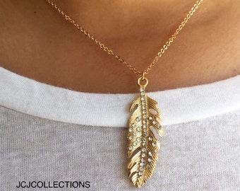 Gold Feather & Pave Crystal Necklace