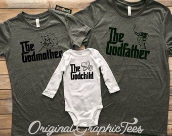 Godfamily- Godfather, Godmother, Godchild Tees- Baptism Gift - Deep Heather Grey Adult Tees- White Onesie