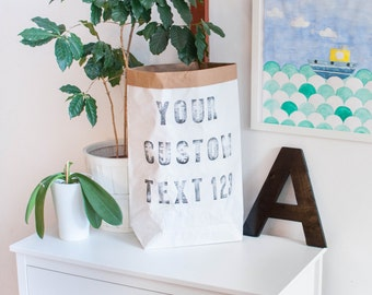Custom Text Letterpress Hand Printed Paperbag storage bag, Sac de rangement, Sac en papier, Paper bag, papiertüte aufbewahrung cadeau gift
