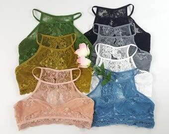 High Neck Lace Bralette - Many colors, Lace bralette bra bras open front and back