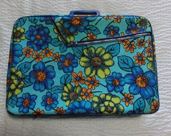 Vintage 60's Psychedelic Suitcase Larger 14 x 20 x 5.5 Travel Size 1960's Mod Valise