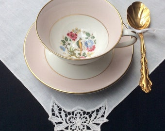 Vintage English Bone China Teacup, Royal Grafton Pink Floral Tea Cup with a Bird