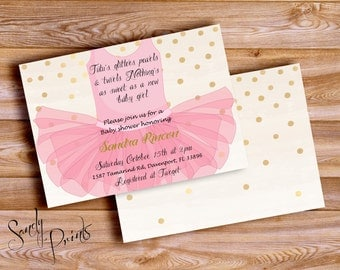 Tutu Baby Shower Digital Invitation