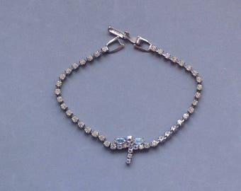 Dragonfly Rhinestone Bracelet/ Silver and Rhinestone Tennis Bracelet / Aurora Borealis/ Sweet Sixteen/Wedding Jewellery