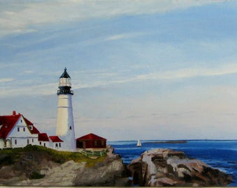 Portland Headlight Lighthouse Original Oil Painting Sale Priced