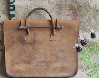 Vintage Brown Leather Satchel Music Satchel Music Case Drs Bag Cowhide Satchel Cowhide Bag Retro Vintage Satchel Organiser Case.