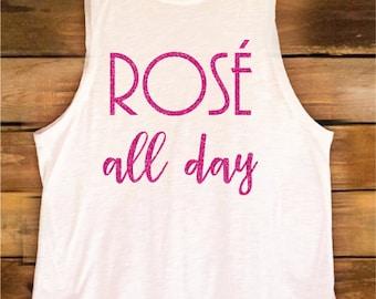 Rosé All Day Tank Top Tee Shirt White
