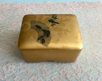 Gold Lacquerware Box Acrylic Asian trinket box