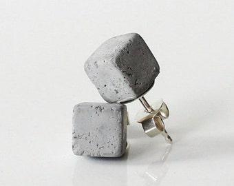 Beton Ohrstecker CUBO, Beton Schmuck, moderner und minimalisticher Schmuck, Architekten  Geschenk, Kollektion aus Beton by ORTOGONALE