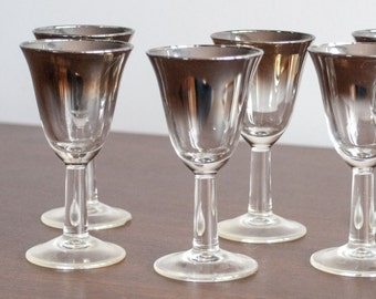 6 Silver Ombre spirits glasses - codial glass; made in France 1960s Vitreon Queen's Lustreware - Mid Century cocktail Glasses Dorothy Thorpe