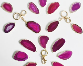 Modern Boho Pink/Fuchsia Gold Plated SoLo Agate Keychain,Handbag,Christmas Gift,Gold Keychain,Gifts Under 20,Gift for Her,Stocking Stuffer