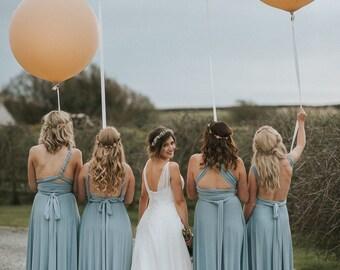 Coralie Beatrix Pelican Dusty Blue Long Octopus Infinity Convertible Wrap Gown Dress~ Bridesmaids, weddings. etc.