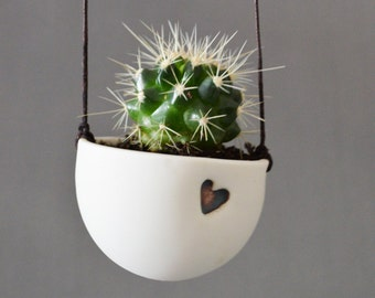 Ceramic White Hanging Planter with Cactus or Succulent - Porcelain Planter with Love Heart and Cactus or succulent