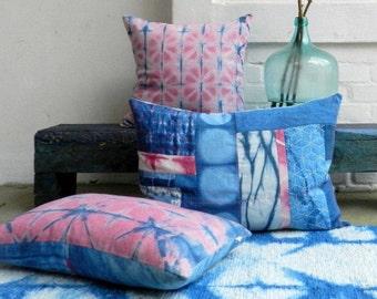 Cochineal Rose Indigo Blue overdyed geometric light Pink Shibori Pattern Pillow german vintage Linen Cushion Magenta 40x60 cm 16x24 inches
