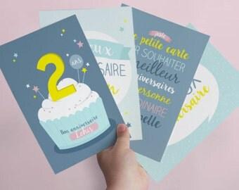 4 cartes anniversaire personnalisables