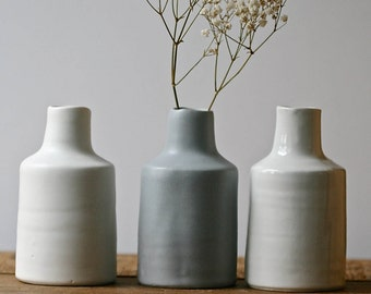 Bottle vase, SIMPLE from ColourBlock series, contemporary home decor, handmade porcelain.