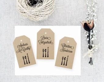 Place Card Tag Template, MEDIUM Black Cutlery Design, Wedding Tag, Gift Tag - Wedding Labels - Hang Tags, DIY Digital Printable