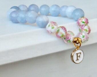 ICY INITIALS , beaded bracelet, initials bracelet, stone bracelet