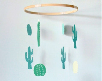 Nursery mobile, Cactus mobile, baby mobile, nursery decor, modern baby mobile, succulent mobile, succulent baby decor, cactus baby decor