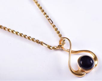 Onyx Necklace Onyx Gold Necklace Onyx Jewelry Gold Onyx Pendant Sterling Silver Gold Plated Necklace Pendant 925 Silver Onyx Black Necklace