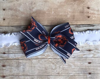 Chicago Bears Hair Bow // Baby Headband // Toddler Clip // Football // NFL // Chicago Bears Hair // Chicago Bears Baby Headband // Bears Bow