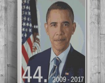 44th President of the U.S. Cross Stitch Pattern, modern cross stitch pattern, Obama cross stitch pattern, needlecraft, instant PDF download