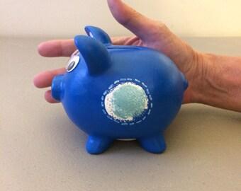 Blue Ceramic Piggy Bank, Small Bank, Small Piggy Gift, Child's Gift, Boy's Gift, Baby Gift, Baby Shower, Baby Nursery, Stocking Stuffer