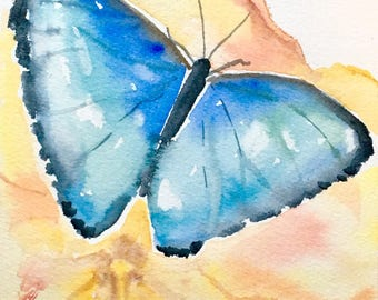 Blue butterfly and hibiscus - 5x7 original watercolor painting - yellow flower, floral art, impressionist, colorful, Hawaii