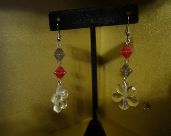 Red and Grey flower earrings