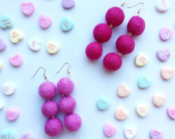 Three tiered wool ball earrings