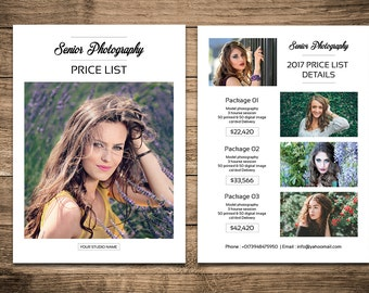 Senior Photography Price List Template | Photography Pricing Guide | Senior Photography Marketing | Instant Download