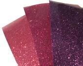 3 sheets of HTV black velvet and real glitter fuchsia, aubergine for Ria